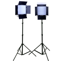 TWO 408 LED SMT (Surface Mount Technology) LED Video Camera Light and Light Stand Kit, 2XLED-408SVC-2X803