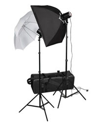 320 Watt Photo Studio MonoLight Strobe Flash Lighting Softbox Umbrella Kit (Optional Carrying Case), 2X160WSTROBE-2X803-1SB1UMB