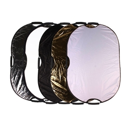 Photography Photo Portable Grip Reflector 5in1 Oval Collapsible Multi Disc Reflector with Handle, 5-IN-1 Oval GRIP REFLECTOR