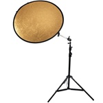 Premium Reflector Kit with 32 inch 2in1 or 5in1 Circular Reflector, Light Stand and Reflector Arm, 8051-32INREFLECTOR-T2258