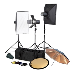 Pro Photography 3-Monolight 300W/400W/600W/800W/1000W Strobe Softbox Flash Lighting Kits with Barndoor, Reflector and Case, CB3300KIT