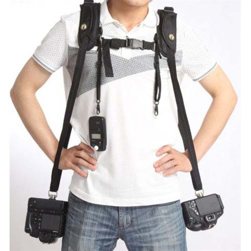 Double Shoulder Strap Camera Sling W Connect Base Double