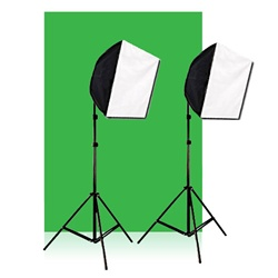 Photography Studio Green Screen Video Photo Quick Softbox Lighting Light Kit, 600 Watt Output, EZ1624GREENSCREENKIT
