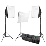 CowboyStudio 2400 Watt Three Point Continuous Lighting Kit with Stands, 20x20 Softboxes, Lights, and Case for Photo and Video