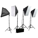 CowboyStudio 3200 Watt Four Point Continuous Lighting Kit with Stands, 20x20 Softboxes, Lights, and Case for Photo and Video