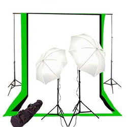 Photo Studio Umbrella Continous Lighting Kit, Background Support, and Black White Chromakey Green 3 Muslin Backdrops, NEWCB_BWG_26KIT