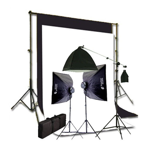 2275 Watt Photo Studio Lighting Softbox Video Boom Light Kit Background Support And Black White Backgrounds 2000wboomkit Newcb Bw