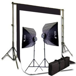 2000 Watt Photo Studio Lighting Softbox Video Light Kit, Background Support, and Black & White Backgrounds, 2000WKIT_NEWCB_BW