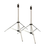 Premium 9' Heavy Duty Air Cushioned Video Studio Light Stand Silver, 2 Pack - 2X 806A Silver
