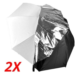 2x White Satin Umbrella with Reflective Silver Backing and Removable Black Cover