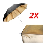 2x Double Layer Black / Gold Photo Studio Reflector Umbrella
