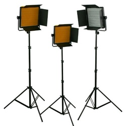 THREE CN-600SA 600 LED Ultra Lightweigh Studio Video Lite Panel Dimmer Sony V Mount and Light Stand Kit, 3XCN-600SA-3X803