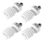 Four 45 Watt, 5500 K Photo Fluorescent Daylight Light Bulbs - 4000 Lumens