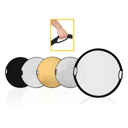 Photography Photo Portable Grip Reflector 5in1 Circular Collapsible Multi Disc Reflector with Handle, 5-IN-1 PORTABLE GRIP REFLECTOR