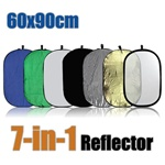 7-in-1 24x36 Inch Oval Collapsible Disc Reflector, with Translucent, White, Black, Blue, Green, Gold, and Silver, 7-IN-1