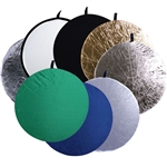 8-in-1 32 Inch or 43 Inch Round Collapsible Disc Reflector, with Translucent, White, Black, Blue, Green, Gold, Silver and Strip, 8-IN-1