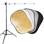 5 in 1 Foldable Photo Studio Reflector Kit with Stand, 8051-5IN1REFLECTOR-H2258