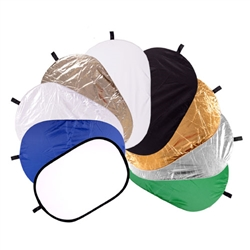 9-in-1 24 x 36 Inch Collapsible Disc Reflector, with Translucent, White, Black, Blue, Green, Gold, Silver, Soft Gold and Pearl White, 9-IN-1