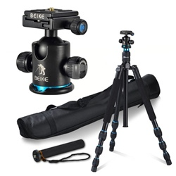 Beike Multi-function Aluminum Alloy Camera Tripod Monopod with Quick Release Plate Ball Head and Bag, BK-475