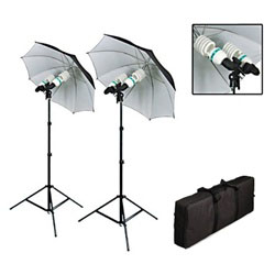 Photo Studio Reflective Umbrella Continuous Lighting Kits with Double Head AC Socket, 1200 Watt Output, BW1200WKIT