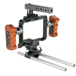 DSLR Cage Wooden Handle with 15mm Rod Baseplate for Sony A7S Lumix GH3 GH4 Camera