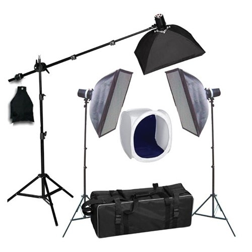 Three MonoLight Strobe Photo Studio Flash Lighting Softbox Boom Kit with Carrying Case ...  sc 1 st  Cowboy Studio : flash lighting - azcodes.com