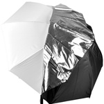 White Satin Umbrella with Reflective Silver Backing and Removable Black Cover, DETACHABLE UMBRELLA