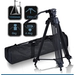 Pro Video Photo Aluminum Tripod Fluid Pan Head Kit with Handle and Case, FC270A, Three Size Options