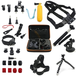 Pro 16-in-1 Accessories Set Case Chest Head Monopod Mount Strap Tripod for GoPro Hero