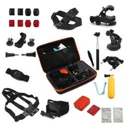 Pro 14-in-1 Accessories Set Chest Head Strap Monopod Bag for Gopro Hero HD 1 2 3 4 Cameras
