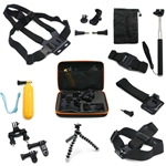 Pro 11-in-1 Monopod Tripod Mount Case Chest Head Strap Accessories Set for GoPro Hero Camera