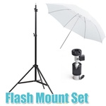 Single Photo Studio Flash Mount G, Stand and Umbrellas Kit, MOUNTG-SOFT UMB-W803