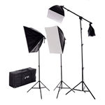 New Design 2275 Watt Photo Studio Lighting Quick Setup Softbox Video Light Kit Boom Set & Carry Case, N-2000WBOOMKIT