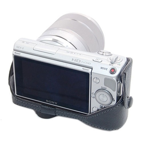 Compact leather case with shoulder strap for sony alpha nex 5 nex our sciox Images