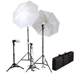 Photography Studio Umbrella Four Continuous Background Lighting Kits with Carrying Case, 800 Watt Output, SL-314 KIT