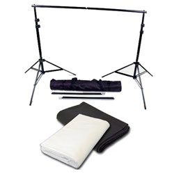 Background Support System with Black White Muslin Backdrops & Carry Case, SUPPORT_BW