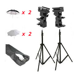 Double Off-Camera Flash Mount Kit with Carrying Bag, Stands and Umbrellas, Mount B, UB4KIT