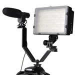 Dual Mount Bracket for Video Lights & Microphones on Cameras and Camcorders, Y Bracket