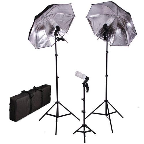 Studio Lighting Cheap: Photo Studio Black Silver Umbrella Continuous Lighting
