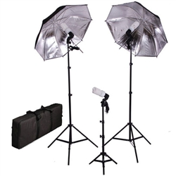 Photo Studio Black Silver Umbrella Continuous Triple Lighting Kits with Carrying Case, 600 Watt Output, B/S-TRIPLEKITCASE