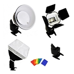 K-8 Complete Shoe Mount Flash Accessory Kit with Beauty Dish, Diffuser, Softbox, Honeycomb, Snoot, Barn Door & Mount, FLASHGUNKIT