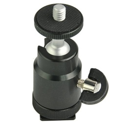 "Adjustable Swivel Hot Shoe Mount 1/4"" Shoe Adapter, Mini Ball Head"