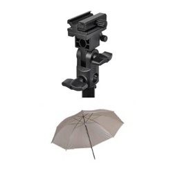 Photo Studio Flash Mount B and White Studio Umbrella, MOUNTB-SOFT UMB