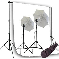 550 Watt Photo Studio Continous Lighting kit, Background Support, and MuslinBackground