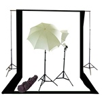 Photo Studio Continous Lighting kit, Background Support, and Black & White Backgrounds, NEWCB_BW_26KIT