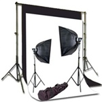 Pro 220 Watt 2-MonoLight Strobe Softbox Flash Lighting kits, Background Support, and Backgrounds, NEWCB_BW_MONO110KIT