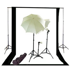 Photo Studio Continous Triple Lighting kit, Background Support, and Black & White Backgrounds, NEWCB_BW_TRIPLEKIT