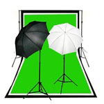 Reflective Soft Umbrella Complete Photography and Video Stuido Lighting Kits, Background Support, Black White Chromakey Green 3 Muslin Backdrops, NEWCB_BWG_2050KIT