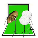 Reflective Soft Umbrella Complete Photography and Video Stuido Triple Lighting Kits, Background Support, Black White Chromakey Green 3 Muslin Backdrops, NEWCB_BWG_3050B/GKIT