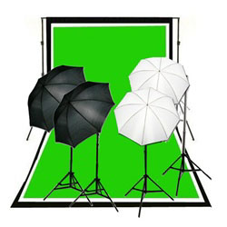 900 Watt Two Reflective Two Soft Umbrella Complete Photography and Video Stuido Lighting Kits, Background Support, Black White Chromakey Green 3 Muslin Backdrops, NEWCB_BWG_4050KIT